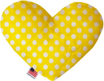 Sunny Yellow Swiss Dots Heart Dog Toy, 2 Sizes