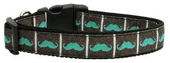 Aqua Moustaches Nylon Dog & Cat Collar