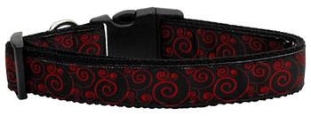 Red And Black Swirly Nylon Dog & Cat Collar