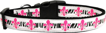 Pink Fleur De Lis Nylon Dog & Cat Collar