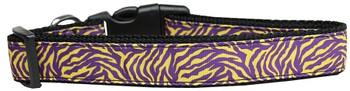 Purple And Yellow Tiger Stripes Nylon Dog & Cat Collar