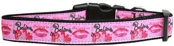 Believe In Pink Nylon Dog & Cat Collar