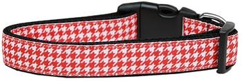 Red Houndstooth Nylon Dog & Cat Collar