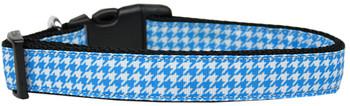 Blue Houndstooth Nylon Dog & Cat Collar