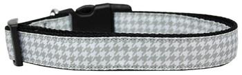 Grey Houndstooth Nylon Dog & Cat Collar