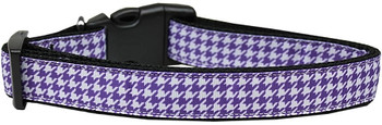 Purple Houndstooth Nylon Dog & Cat Collar