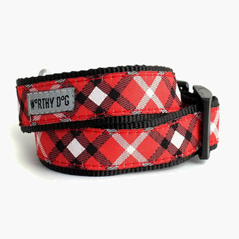 Bias Plaid Red Pet Dog & Cat Collar & Optional Lead