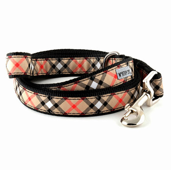 Bias Plaid Tan Pet Dog & Cat Collar & Optional Lead