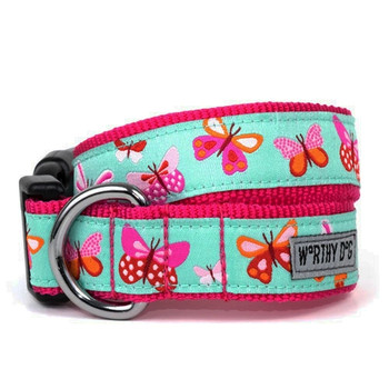 Butterflies Pet Dog Collar & Optional Lead
