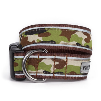 Camo Brown Pet Dog Collar & Optional Lead