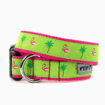 Flamingos Pet Dog Collar & Optional Lead