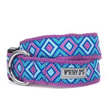 Graphic Diamond Purple Pet Dog Collar & Optional Lead