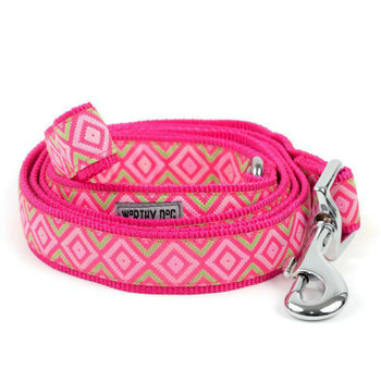 Graphic Diamond Pink Pet Dog Collar & Optional Lead