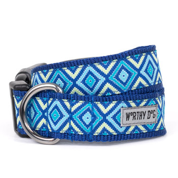 Graphic Diamond Blue Pet Dog Collar & Optional Lead