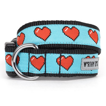 Graphic Hearts Pet Dog Collar & Optional Lead