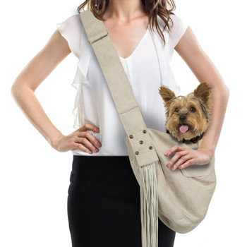 Custom - Luxe Suede Cuddle Dog Carrier & Fringe