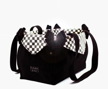Custom Windsor Check Nouveau Bow Luxury Dog Purse / Carrier