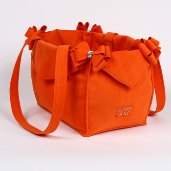 Orange Nouveau Bow Luxury Dog Purse / Carrier