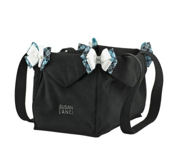 Custom Platinum Glitzerati Double Nouveau Bow Luxury Carrier with Fur Trim
