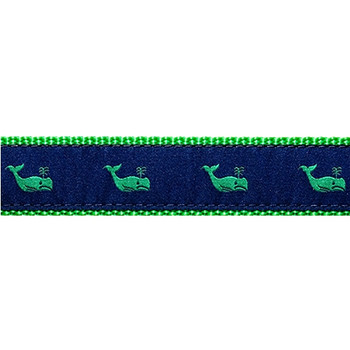 Dog Collar - Whales Green on Navy - 1/2, 3/4, 1 1/4