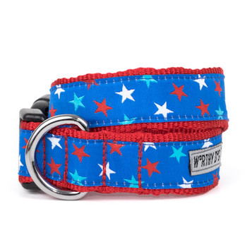 Patriotic Stars Pet Dog Collar & Optional Lead