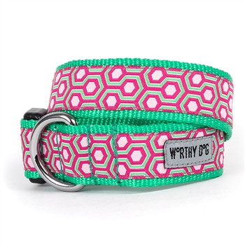 Pink/Green Hexagon Pet Dog Collar & Optional Lead