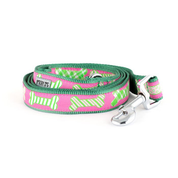 Preppy Bones Pink Pet Dog Collar & Lead