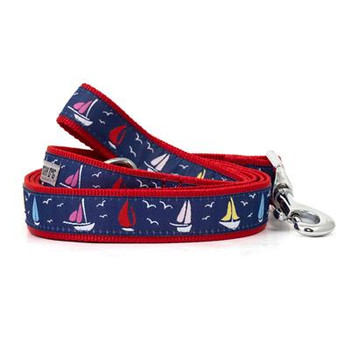 Navy Sailboats Pet Dog Collar & Optional Lead