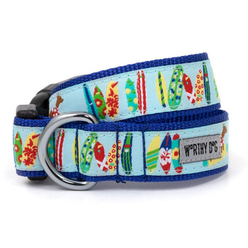 Surfs Up Pet Dog Collar & Optional Lead