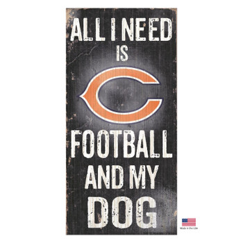 Chicago Bears Distressed Football And My Dog Sign