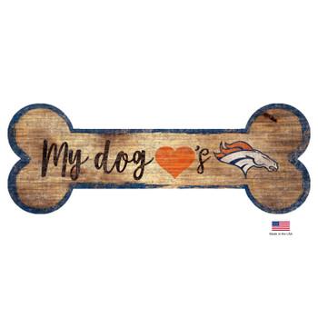 Denver Broncos Distressed Dog Bone Wooden Sign