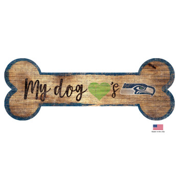Seattle Seahawks Distressed Dog Bone Wooden Sign