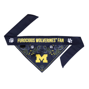 Michigan Wolverines Pet Reversible Paisley Bandana