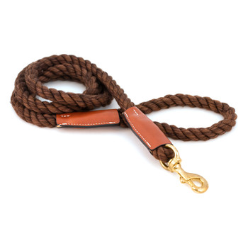 Cotton Rope Leash with Leather Accents - Brown