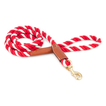 Cotton Rope Leash with Leather Accents - Red & White