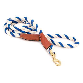 Cotton Rope Leash with Leather Accents - Blue & White
