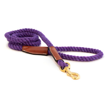 Cotton Rope Leash with Leather Accents - Violet