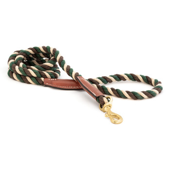 Cotton Rope Leash with Leather Accents - Camo