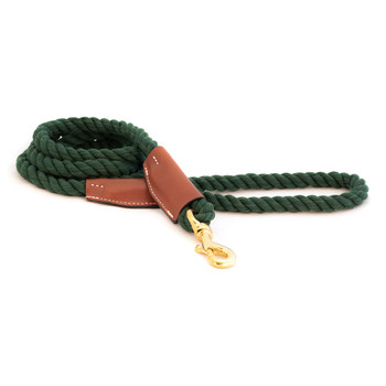 Cotton Rope Leash with Leather Accents - Evergreen