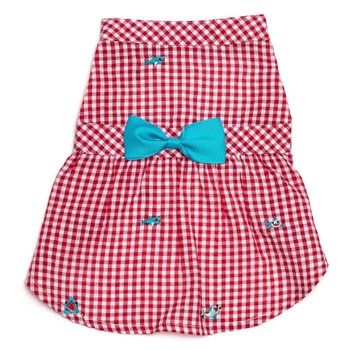 Red Gingham Chomp Pet Dog Dress - Small - Big Dog