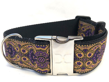Kashmir Sultan Purple Extra Wide Dog Collar - Personalized Buckle