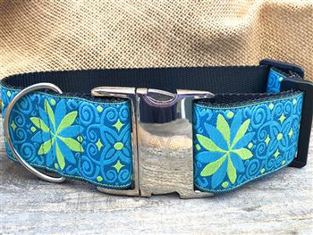 Pinwheel Caribbean Blue Extra Wide Dog Collar - Personalized Buckle