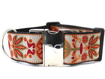 Venice Ivory Extra Wide Dog Collar - Personalized Buckle