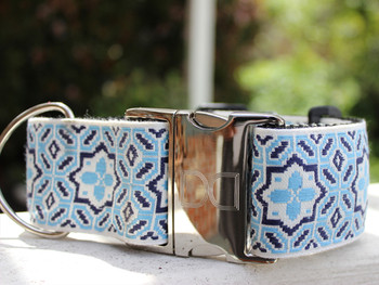 Santorini by the Sea Extra Wide Dog Collar - Personalized Buckle