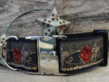 Dakota Rose Extra Wide Dog Collar - Personalized Buckle