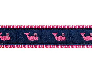 Dog Collar - Whales Pink on Navy - 1/2, 3/4, 1 1/4