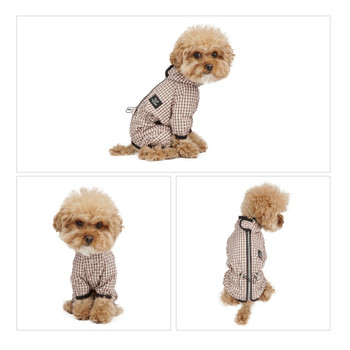 Magagio Check Dog Raincoat Overalls - Beige