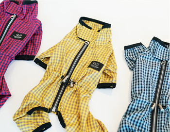Magagio Check Dog Raincoat Overalls - Yellow