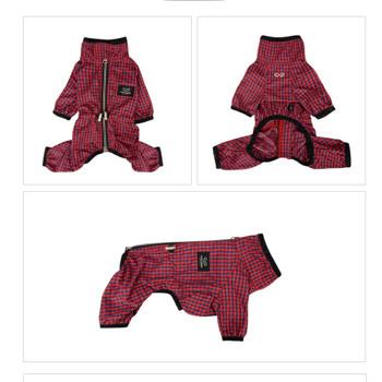 Magagio Check Dog Raincoat Overalls - Red