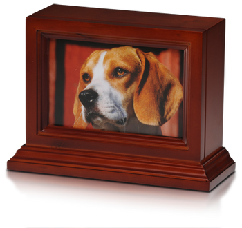 4″ x 6″ Wooden Photo Frame Pet Urn with Base in Cherry – 45 cu. in.